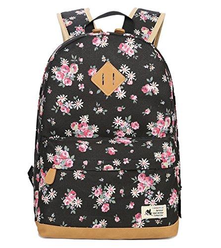 DNFC Canvas Rucksack Damen Mädchen Schulrucksack Fashion Schulranzen Teenager Schultaschen Blumen Freizeitrucksack Mode Daypack Backpack für Frauen (Schwarz)
