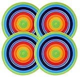 Set von 4–Rainbow Stripe–Helle, fröhlich, Keramik Regenbogen gestreift Teller–18cm