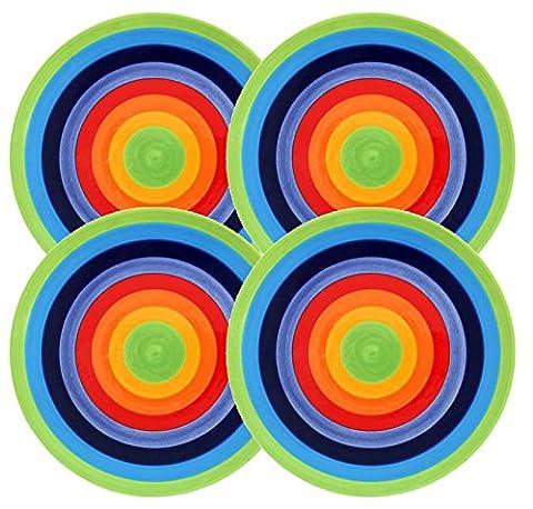 SET of 4 - RAINBOW STRIPE - Bright, Cheerful, Ceramic Rainbow Striped SIDE PLATES - 18cm