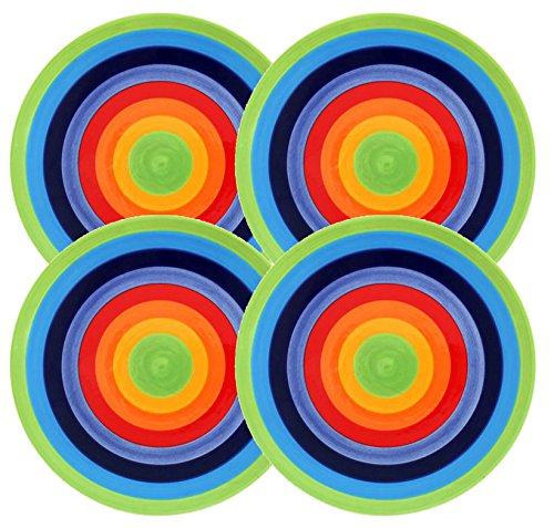 Set von 4-Rainbow Stripe-Helle, fröhlich, Keramik Regenbogen gestreift Teller-18cm