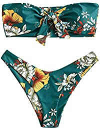 502bb2cf46 Rosegal Women's Tie Knot Front Floral Print High Cut Two Piece Strapless  Bandeau Bikini Set