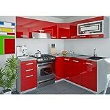 JUSThome Lidja L-Küche Küchenzeile Küchenblock 190x170 cm Farbe: Rot Hochglanz