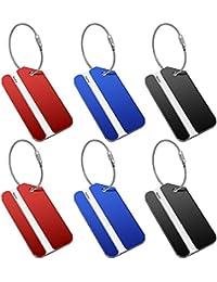 6PCS Étiquettes Valise Avion Étiquettes à Bagages pour Accessoires de Voyage (2 Noir, 2 Rouge, 2 Bleu)