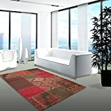 carpet city Teppich Modern Desinger Wohnzimmer Chapel Patchwork Rot Braun Orange 80x150 cm
