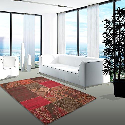 Patchwork-orientalische Teppiche (Teppich Modern Desinger Wohnzimmer Chapel Patchwork Rot Braun Orange 160x230 cm)