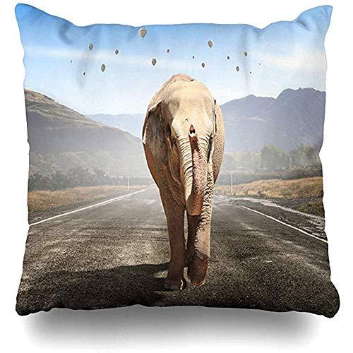 Funda de cojín Render África Elefante masivo Naturaleza Salvaje Africano Big Cargo Diseño peligroso Desierto Inicio Funda de almohada Tamaño cuadrado es Cremallera Decoración Funda de almohada 45X45CM