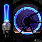 StickersLab - 2 Tappi Copri Valvola Ruota LED Blu con Batterie UNIVERSALE Bici Auto Moto