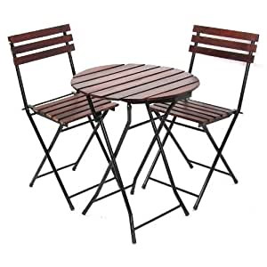 ensemble bistrot pr jardin table 2 chaises ronde 60cm chaise pliantes m tal bois. Black Bedroom Furniture Sets. Home Design Ideas