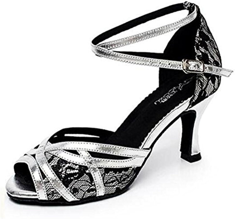 Zapatos de mujer Danza interior de cuero Salón Soft Sole Latín moderno Zapatillas Tamaño 36 a 41 , EU40