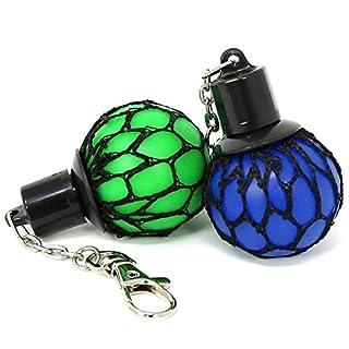 com-four® 2X Squeeze Ball Schlüsselanhänger, Quetschball in grün und blau, 13 x 4 cm (02 Stück - Schlüsselanhänger blau + grün)