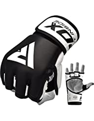 RDX MMA Gloves Sparring Martial Arts Grappling Cowhide Leather Training UFC Cage Fighting Combat Punching Bag Gel Mitts