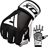 RDX MMA Gloves Sparring Martial Arts Grappling Cowhide Leather Training UFC Cage Fighting Combat Punching Bag Gel Mitts,Black,Small