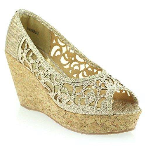 Frau Damen Abend Party Peeptoe Diamante Keilabsatz Sandale Schuhe Größe Champagner