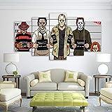 TJJQT 5 Impressions sur Toile Toile HD Impressions Mur Art Photos 5 Pièces Bande Dessinée Gracioso Freddy Krueger Peintures Horreur Film Affiche Salon Décor