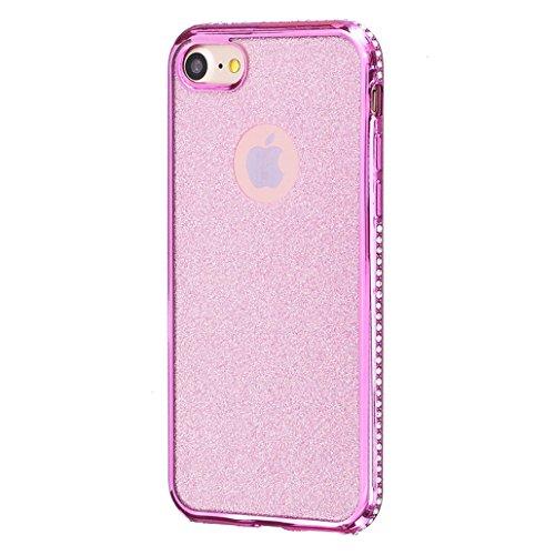 Cover rigida trasparente con liquido e brillantini, effetto 3D, per iPhone 6S Plus (2015) e iPhone 6Plus (2014) da 5,5 pollici, con 1 pellicola salvaschermo e 1 pennino capacitivo B Diamonds Deep Rose Golden