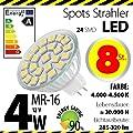 8-er Pack ALMIPEX MR16 LED Lampe 4W (320lm - 4500 K - Weiß - 24 x 5050 SMD LED - 120º Abstrahlwinkel - GU5.3 Sockel - 12V DC - 4 Watt - Ø 50×45 mm) von Almipex Swiss GmbH bei Lampenhans.de