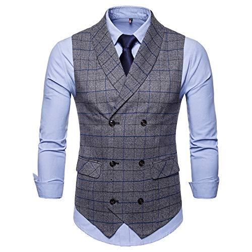 Bmeigo Herren Anzug Weste Slim Fit Business Formal V-Ausschnit Tweed Weste Lässige Vintage Kariert Zweireiher Gilet Top