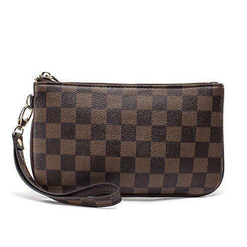 High Fashion Tote Handtasche (Daisy Rose Checkered Tote Umhängetasche mit Innentasche - Pu Vegan Leder Klein Braun)