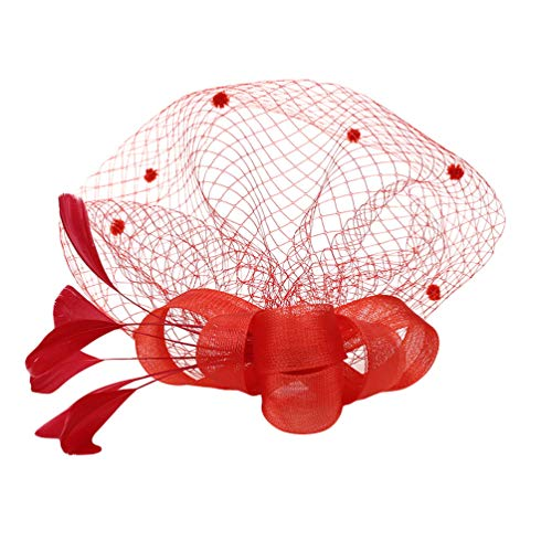 Lvguang Damen Schleier Haar Zusätze Färbten Feder Abdeckungs Gesichts Ineinander Greifen Garn Kopf Schmuck (Rot)