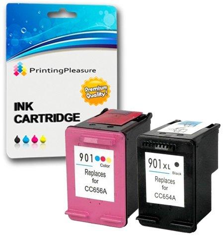 Printing Pleasure 2 XL Druckerpatronen für HP Officejet 4500 J4500 J4524 J4535 J4540 J4550 J4580 J4585 J4600 J4624 J4660 J4680 J4680C G510a G510g G510n | kompatibel zu HP 901XL (CC654AE & CC656AE)