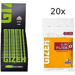 Set Gizeh 20x Gizeh Slimfilter plus 20x Gizeh Black Fine Zigarettenpapier Slim Filter Papers kurz
