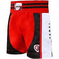 Farabi - Pantalones cortos de combate para boxeo, MMA, Muay Thai, color rojo / blanco, tamaño extra-small
