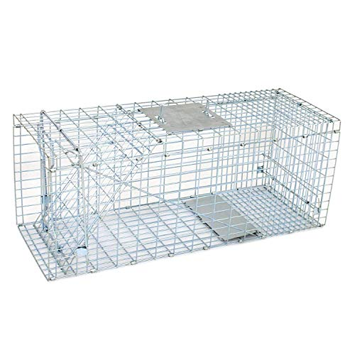 """Zeny Live Animal Cage Trap 32"""" X 12.5"""" X 12"""" Steel Cage Catch Release Humane Rodent Cage for Rabbits, Stray Cat, Squirrel, Raccoon, Mole, Gopher, Chicken, Opossum, Skunk"""