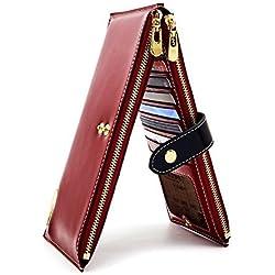 ANDOILT Mujer Cuero Genuino Billetera RFID Bloqueo Tarjeta de Crédito Poseedor Cremallera Carteras Teléfono Celular Bolsa Rojo