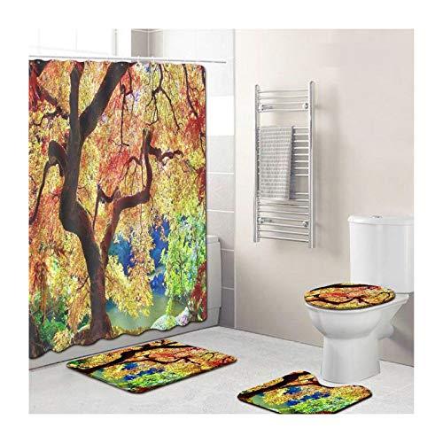 SonMo 4-Teiliges Badzimmer Teppich Duschmatte Wc-Deckel WC Teppich Set Polyester Wasserdicht 3D Vorhang für Badewanne Badezimmer Die Architekturlandschaft Grün