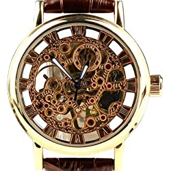 Orkina Mens Golden Case Hollow Mechanical Dial Quartz Leather Strap Wrist Watch KC112GB