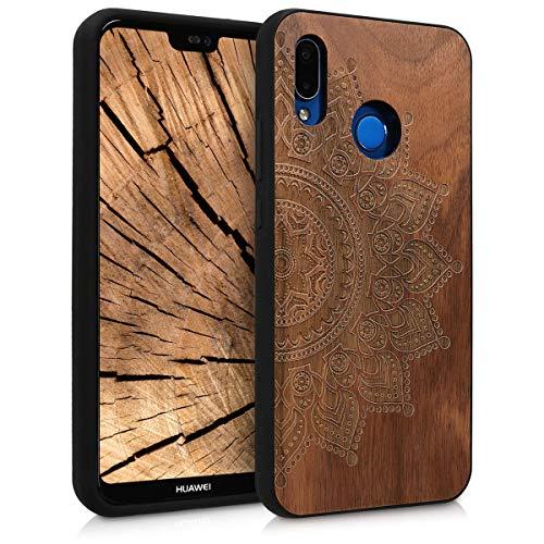 kwmobile Holz Schutzhülle für Huawei P20 Lite - Hardcase Hülle mit TPU Bumper Walnussholz in Aufgehende Sonne Design Dunkelbraun - Handy Case Cover