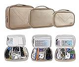 Elektronische Tasche, 3PCS Universaltasche Doppelt Elektronische Tasche für Elektronische Zubehörtasche für Universal Kabel USB Wasserdicht Nylon (Gold)