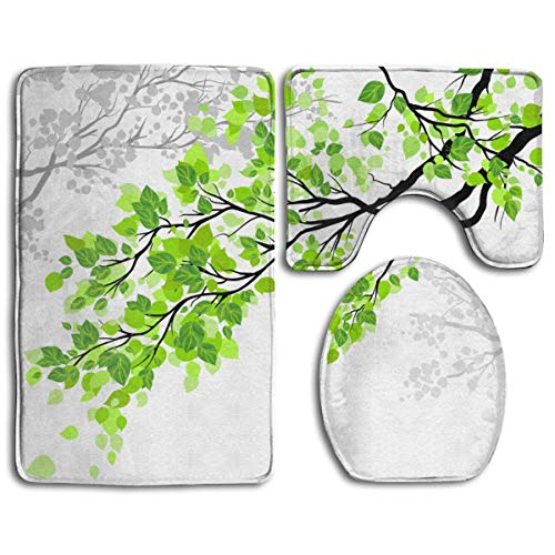 DFHome Badezimmer-Matte stellt 3 Stück EIN Refreshing Leaves On Branchs Print Bathroom Rug Mats Set 3 Piece, Non-Slip Bath Rugs + Toilet Seat Cover + Contour Mat -