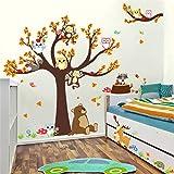 VIOYO A + B Animaux de Bande Dessinée Ours Singe Hiboux Arbre Sticker Mural pour La Maternelle Enfants Chambre Décoration Home Stickers Automne Paysage Mural Art