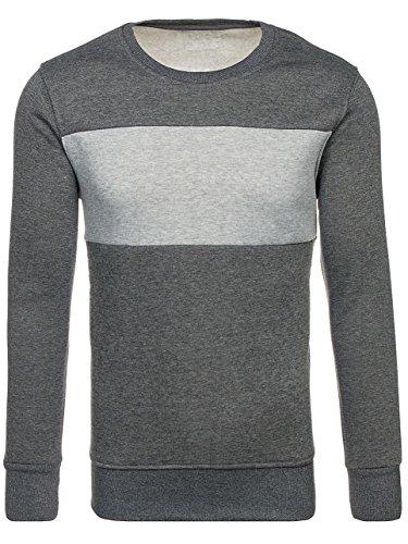 BOLF Herren Sweatshirt mit Rundhalsauschnitt Bündchen Sport Style J.STYLE J28 Dunkelgrau M [1A1] |