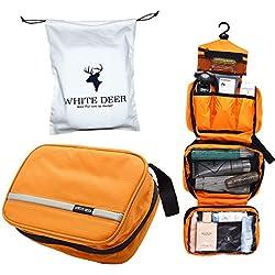 Bolsa de Aseo Cosméticos, Neceser de Impermeable y Plegable Gran Capacidad Multifuncional para Viaje, 1 Bolsa de Almacenamiento(Regalo) y 1 Neceser de Maquillaje, Dealta Calidad(Naranja)