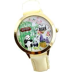 ufengke® cute cartoon polymerclay pandas bamboos white strap watches girls gold case plum flowers watch