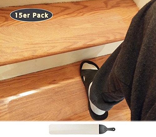 15er Pack (10 x 60 cm) antirutsch treppe anti rutsch streifen treppen rutschschutz treppenstufen stufenmatten transparent selbstklebend stufenmatte stufe klar , Baby/ältere/Haustier/Innen
