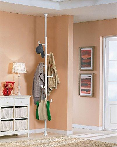 SoBuy® Garderobenständer mit 6 Haken - verstellbar -  weiß