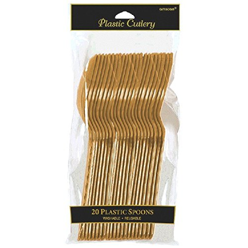 Amscan International Spoons, Pack of 20, Gold
