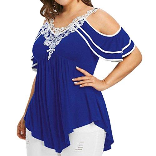 Mädchen Tank Racer (TITIU Damen Plus Size abgestufte Spitze Appliques kalte Schulter mit V-Ausschnitt T-Shirt Tops Oberteil Bluse Tees(Blau,XL))