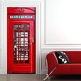 BAIYUDE 3D Cabine Téléphonique Porte Stickers Muraux Chambre Décor À La Maison Affiche PVC Étanche Porte Autocollant 70X204cm
