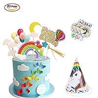 TsLinc Rainbow Birthday Cake Toppe, Unicorn Cake Topper Kit Happy Birthday Cake Decorations BannerFor Boys Girls Kids Birthday Baby Shower Wedding