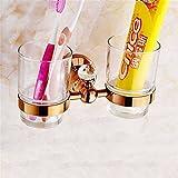GuoEY Zubehör für Komplettes Badezimmer Gold Europäischen rosa Badewanne in Kupfer Duschkombination Tür Hook-Heated Handtücher, Dual Cup