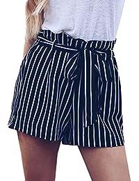 moonuy Été Confortable Femmes Stripe Pocket Loose Pantalon Lady Casual Taille  Haute Summer Beach Shorts Pantalons 09928cb5a57