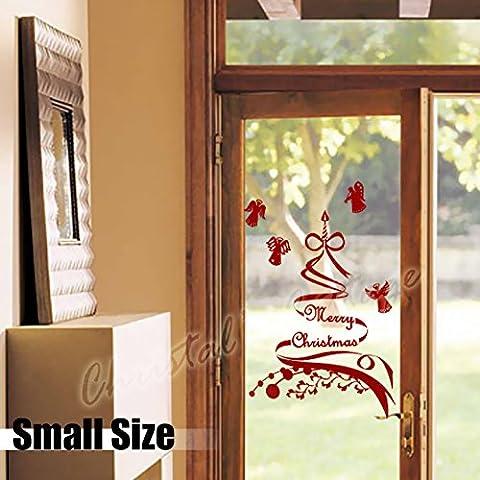 60cm albero di Natale e Angelo Shop Show Finestra Decorazione artistica da parete adesivo, Bianco, Inside Glass for Outside