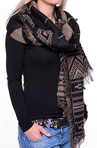 Feinzwirn - Echarpe - Femme schwarz-khaki-ethno