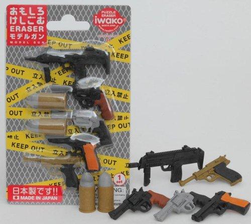 Iwako modello Guns pistola Revolver Mitragliatrice Bullets giapponese Gomme Blister Set NEW!