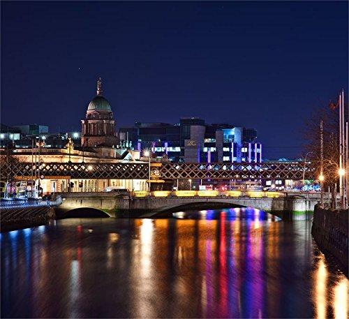 Puente sobre el río en la noche Dublín Irlanda Europa Póster de decoración para el hogar (48x 45cm