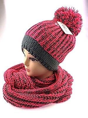 NB24 Winterset (08), Loop Schal + Bommelmütze, Pudelmütze, grau neonrosa, grob gestrickt, Mütze Schal für Damen Damenmode Damenbekleidung von Nails-Beauty24 bei Outdoor Shop